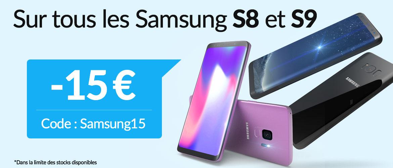 -15€ sur les Samsung Galaxy S8 et S9